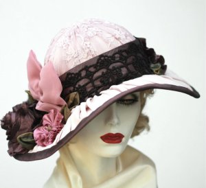 pink and brown silk hat